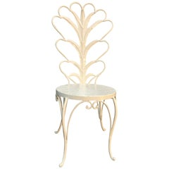 White Hollywood Regency Vanity Chair with Palm Tree Leaves