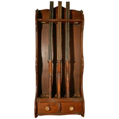 19th Century French Oak Hunting Lodge Shot Gun Rack