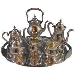 Old French by Gorham Sterling Silver Tea Set Six Piece with Tray Exceptional