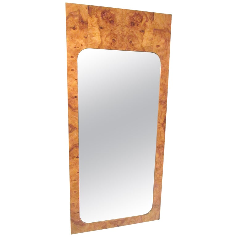 Pair of Mid-Century Burl Wood Mirrors by Lane