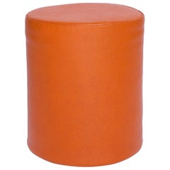 Orange Sport Pouf in Basketball Game-Ball Leather