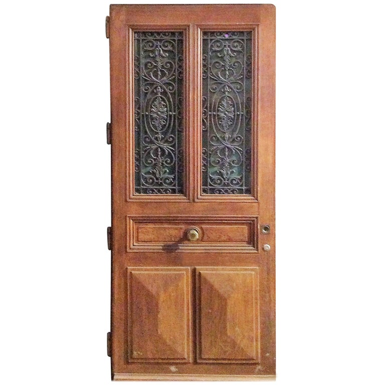 Ornate Antique Oak Door - Large Antique Oak Six-Panel Door With Marquetry Panels For Sale At