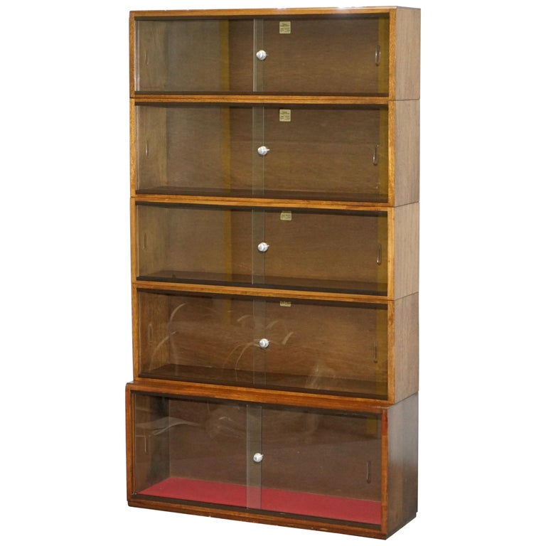 Five-Section 1960s Simplex Medium Oak Stacking Legal Library Bookcase Glass