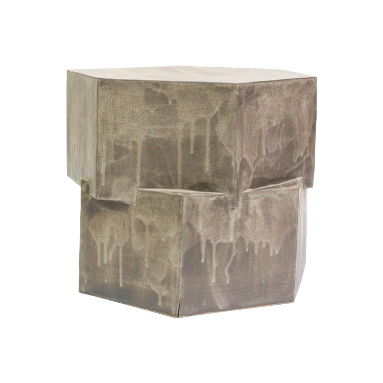 Contemporary Ceramic Gray Hexagon Side Table For Sale