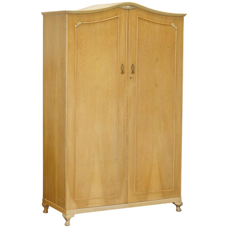 Large Satin Walnut Double Wardrobe Part Suite, Dressing Table, Small Wardrobe