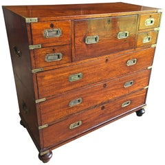 Early 19th Century Anglo-Indian Mahogany Campaign Chest with Desk