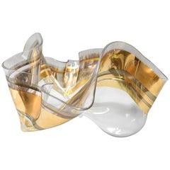 Laurel Fyfe Slumped Art Glass Bowl or Vessel Clear Gold Leaf Ribbons