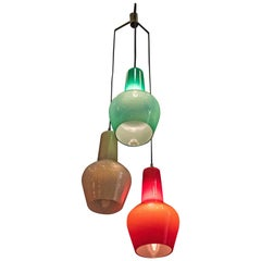 Vistosi Murano Stilnovo Chandelier in Mauve, Red and Clear Green Glass