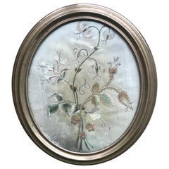 19th Century Oval Floral Silk Embroidery in Metal Frame
