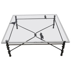 Hand Wrought Metal and Glass Coffee Table in the Style of Ilana Goor Bird Detail