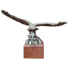 20th Century Italian Eagle in Bronze on a Wood Base, 1940s