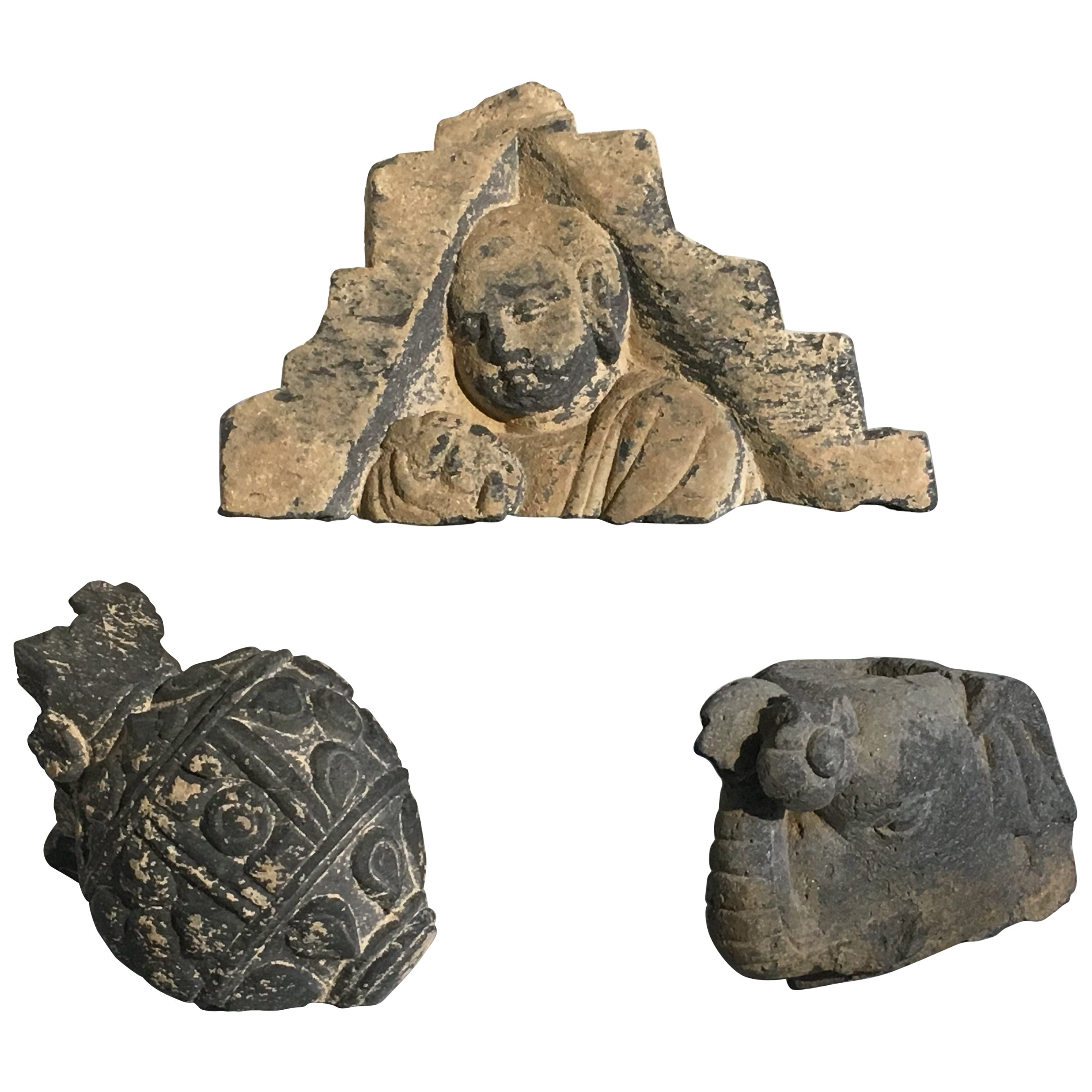 Group of Gandharan Carved Schist Sculptural Fragments, 3rd-5th Century