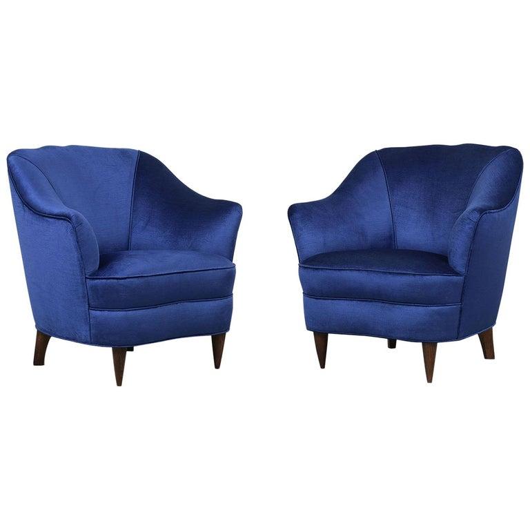 Unique Pair of Italy Gio Ponti for Casa E Giardino Lounge Chairs