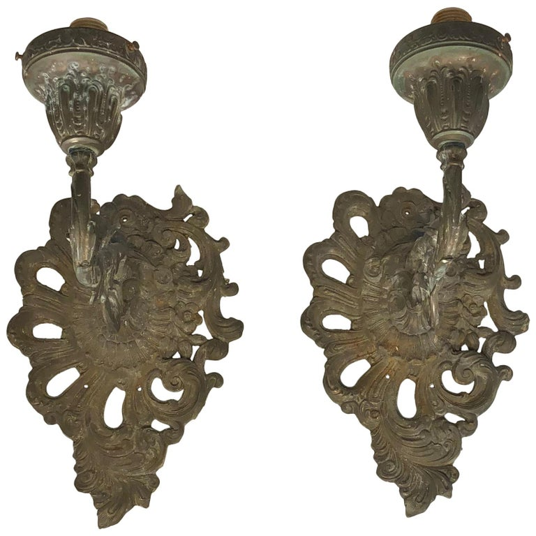 Pair Of Architectural Outdoor Metal Rococo Style Wall Sconces For