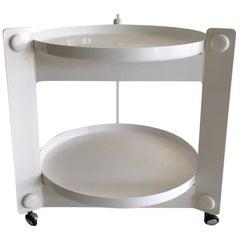 White Guzzini Tray Table, Trolley, by Luigi Massoni, 1970s