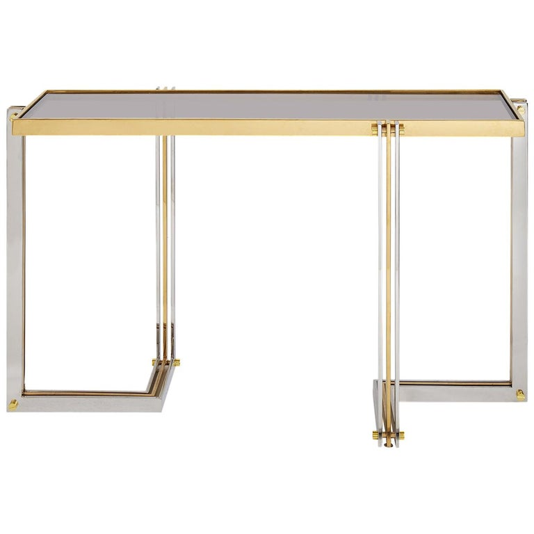 Electrum Polished Nickel and Brass Console Table