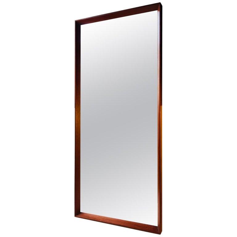 Danish Modern Teak Mirror by J. Hølmer-Hansen for Risskov Spejle, 1960s For Sale