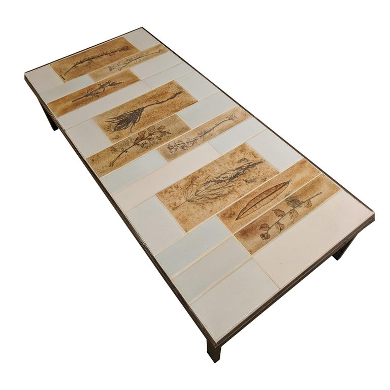 "Coffee Table with Ceramic ""Garrigue"" Tiles by Roger Capron"
