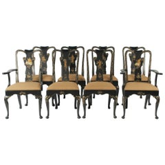 Set of Eight Hand-Painted and Black Lacquered Chinoiserie Dining Chairs