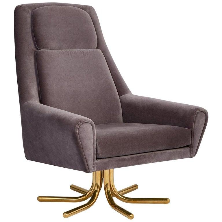 Ultra Charcoal Velvet and Brass Swivel Chair