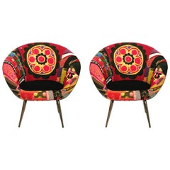 Spaceship Armchair, Midcentury Vintage Inspired Bohemian Set of Two Armchairs