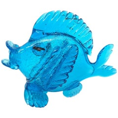 Blue Fish Murano Art Glass Statue, Italy Venice, 1980s