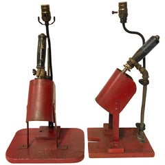 Pair of Red Industrial Factory Soldering Guns, Now as Lamps