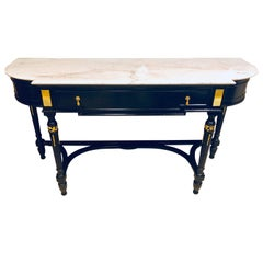 Palatial Ebony Louis XVI Style Marble-Top Ebony Console or Sideboard Server