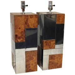 Pair of Paul Evans Cityscape Table Lamps, PE 400 Series