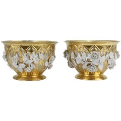 Pair of Dresden Gilt and Flower Encrusted Reticulated Fruit Bowls