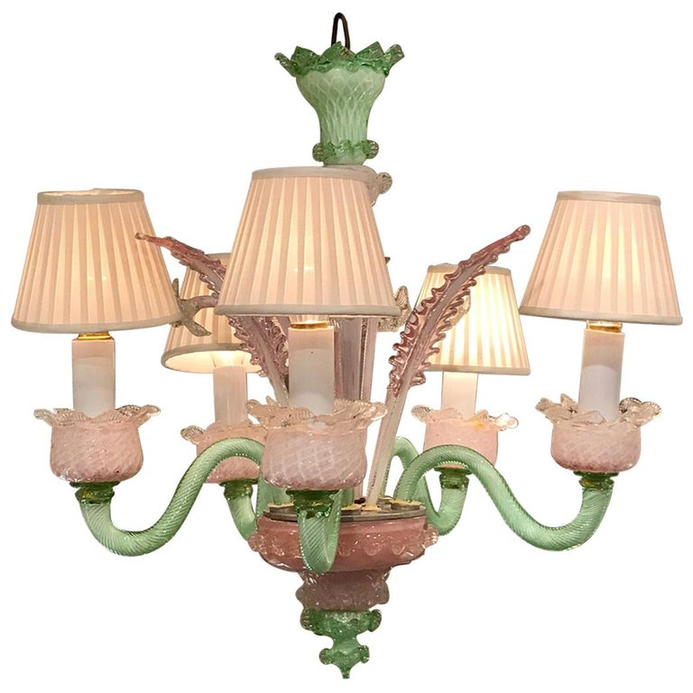 Venetian Pink and Green Murano Glass Five-Light Chandelier