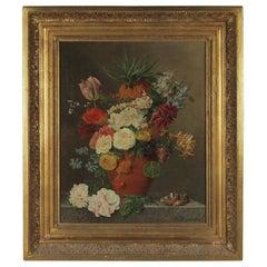 Floral Original Oil on Canvas Artist Signed H E De Castro Late 18th Century