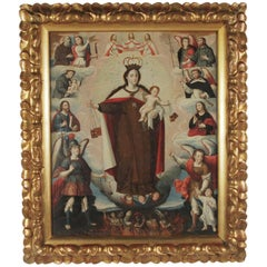 """1690s Oil on Canvas """"Our Lady of Mount Caramel and Saints"""" Cuzco School"""