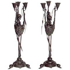 Auguste-Nicolas Cain, Pair of French Candelabra with Bird's Nest