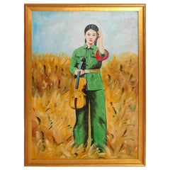 Chinese Oil Painting of Revolutionary Girl with Violin
