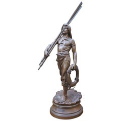 Antique Large, Bronze & Stout-Hearted Young Oarsman Sculpture by Antoine Bofill