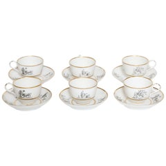 Flight, Barr & Barr Worcester Set of Six Cups and Saucers