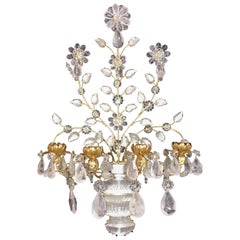 Transitional Large Pair Gilt Rock Crystal Baguès Flowers Candelabra Sconces
