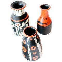 Group of Three Midcentury Art Pottery Vases by Hungarian Artist Livia Gorka