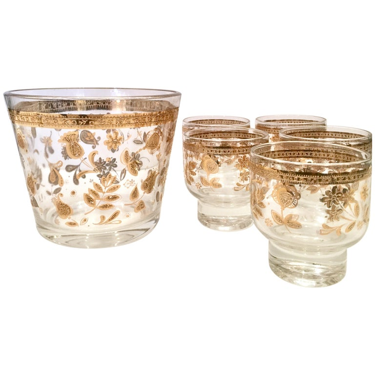 Midcentury 22-Karat Gold Drinks Set of Six Pieces by Culver