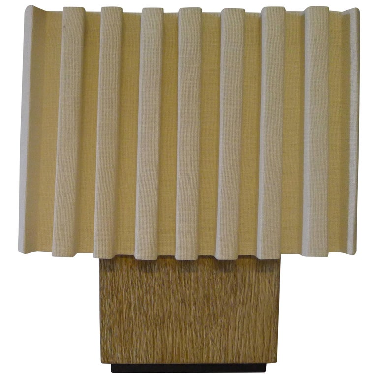 Paul Marra Modern Distressed Oak Lamp For Sale