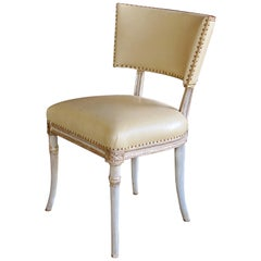 Graceful American 1940s Celadon Painted Grosfeld House Side/Dressing/Desk Chair