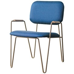 """Bruna"" Minimalist Chair with Arms in Painted Steel and Blue Velvet Handwoven"