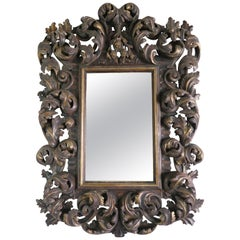 Italian Rococo Style Carved Wood Painted and Parcel-Gilt Mirror