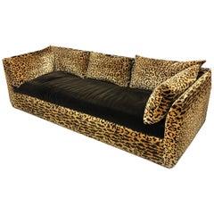 Vintage Leopard Silk Velvet 1970s Sofa