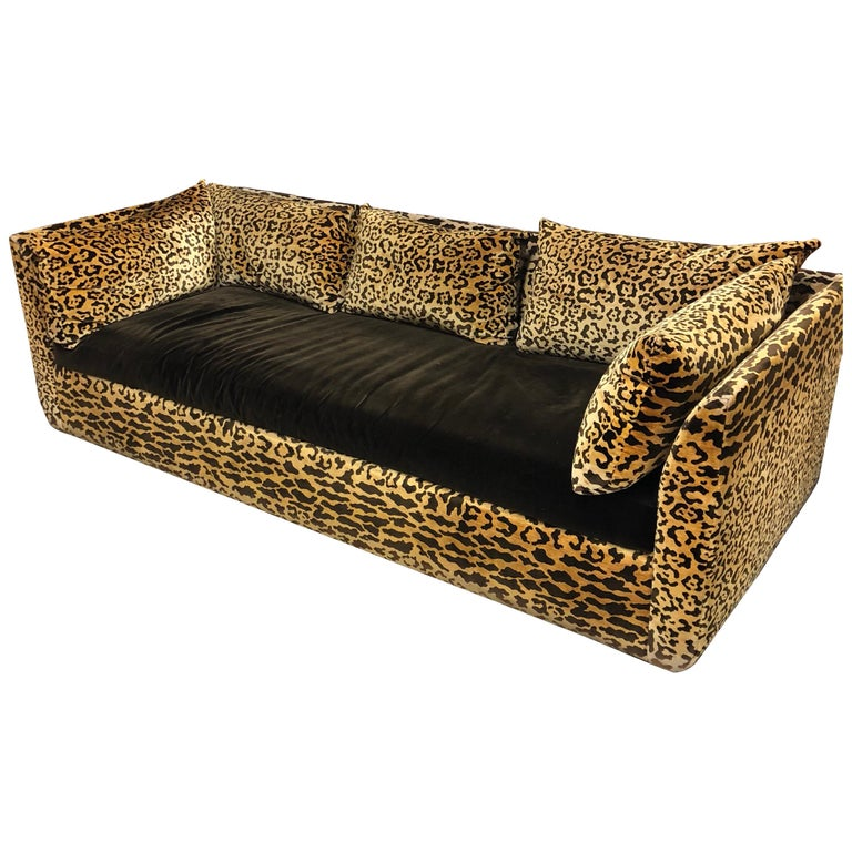 Vintage Leopard Silk Velvet 1970s Sofa For