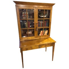 Shaker Cupboard and Table in Tiger Maple, Late 19th Century, Ohio