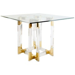 Metric Series Small Dining or Centre Table, Lucite and Brass Base with Glass Top