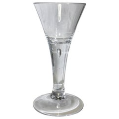 German Antique Wine Drinking Glass with Air Bubble, 18th Century