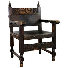 Spanish Hacienda Style Armchair Hand-Carved Leather Artes De Mexico